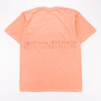Stussy People Stripe Pig. Dyed T-Shirt Neon Orange