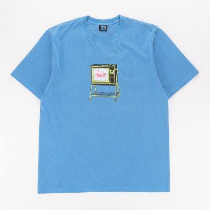 Stussy Rolling TV Pig. Dyed T-Shirt Blue1