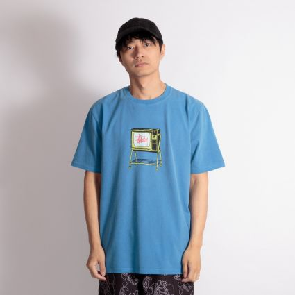 Stussy Rolling TV Pig. Dyed T-Shirt Blue