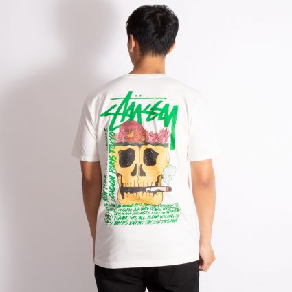 Stussy Smokin' Skull Pig. Dyed T-Shirt Natural