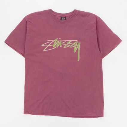 Stussy Smooth Stock Pig. Dyed T-Shirt Wine1