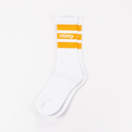 Stussy Sport Crew Socks White/Orange1