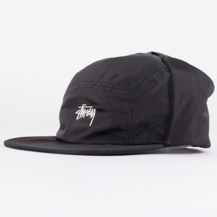 Stussy Stock Ear Flap Camp Cap Black1