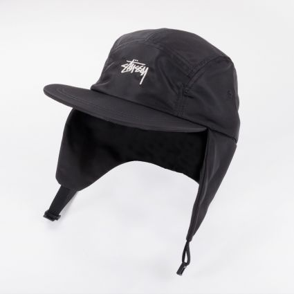 Stussy Stock Ear Flap Camp Cap Black