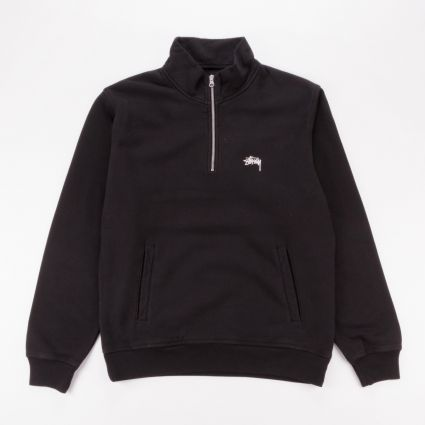 Stussy Stock Logo Mock Neck Sweatshirt Black1