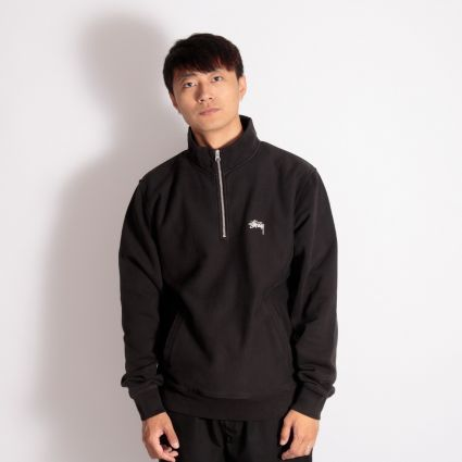 Stussy Stock Logo Mock Neck Sweatshirt Black