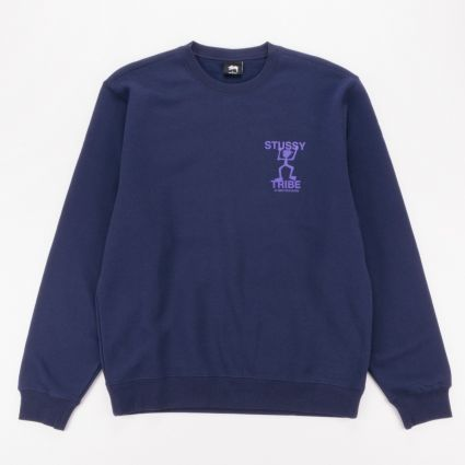 Stussy Warrior Tribe Crew Sweatshirt Navy1