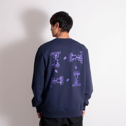 Stussy Warrior Tribe Crew Sweatshirt Navy