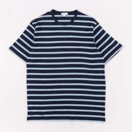 Sunspel SS Crew Neck T-Shirt Navy/Blue Jeans Breton Stripe