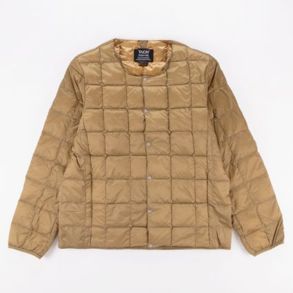 TAION Crew Neck Button Down Jacket Beige1