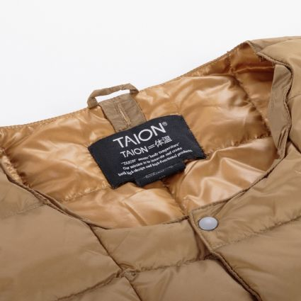 TAION Crew Neck Button Down Jacket Beige