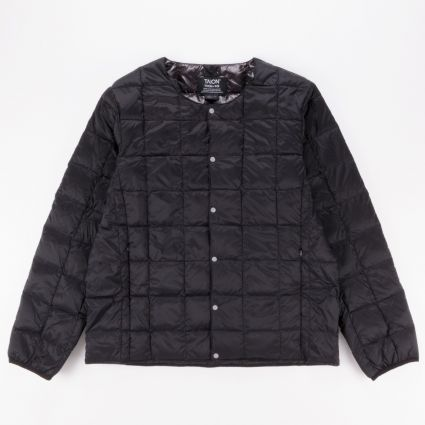 TAION Crew Neck Button Down Jacket Black1