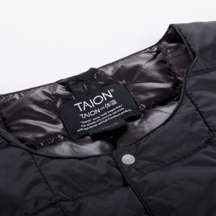 TAION Crew Neck Button Down Jacket Black