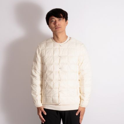 TAION Crew Neck Button Down Jacket Off White