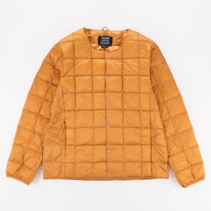 TAION Crew Neck Button Down Jacket Orange1