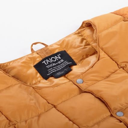 TAION Crew Neck Button Down Jacket Orange