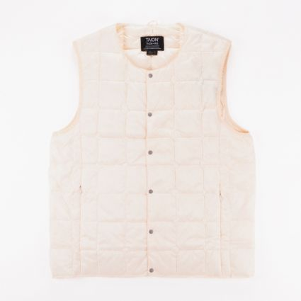 TAION Crew Neck Button Down Vest Off White1