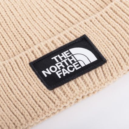 The North Face Logo Box Cuff Beanie Hawthorne Khaki
