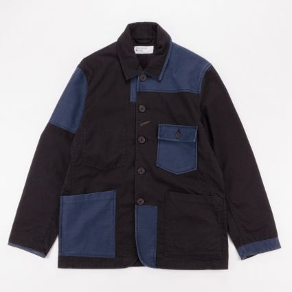 Universal Works Patched Mill Bakers Jacket Black/Navy1
