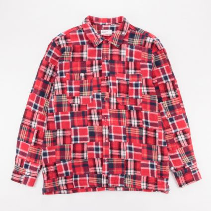 Universal Works Brushed Patchwork Garage Shirt II Red1