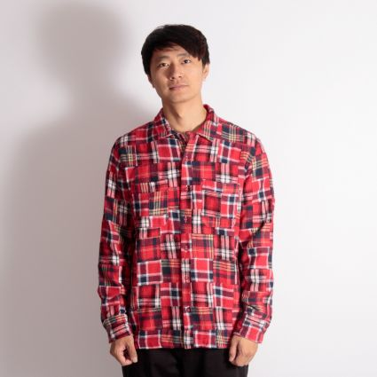 Universal Works Brushed Patchwork Garage Shirt II Red