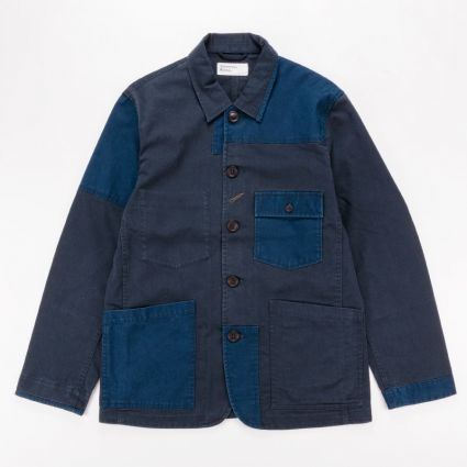 Universal Works Patched Mil Bakers Jacket Navy1