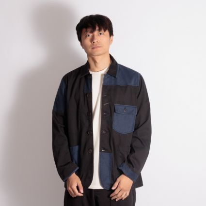 Universal Works Patched Mill Bakers Jacket Black/Navy