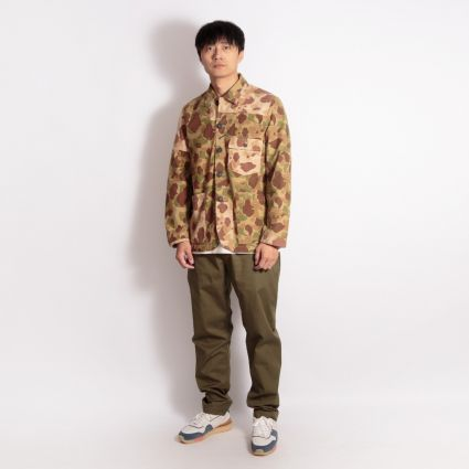 Universal Works Patched Mill Bakers Jacket Peacekeeper Camo Olive/Sand