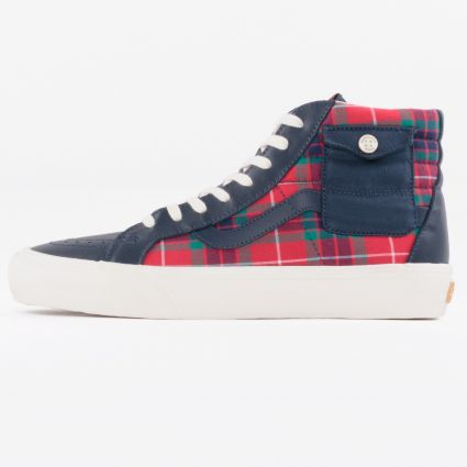 Vans x Baracuta UA Sk8-Hi Pocket VLT LX Dress Blues/Tartan Plaid/Marshmallow1