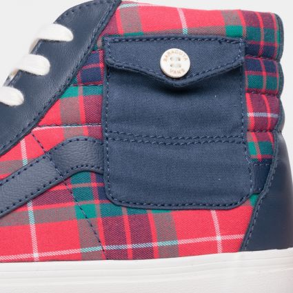 Vans x Baracuta UA Sk8-Hi Pocket VLT LX Dress Blues/Tartan Plaid/Marshmallow VN0A4UWX25I1