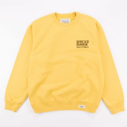 Wacko Maria Washed Heavy Weight Crew Neck Sweat Shirt (Type-2) Yellow1