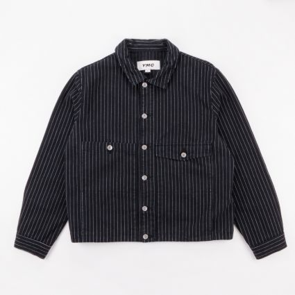YMC Garment Dye Pinstripe Twill Pinkley Jacket Black1