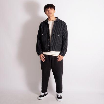 YMC Garment Dye Pinstripe Twill Pinkley Jacket Black