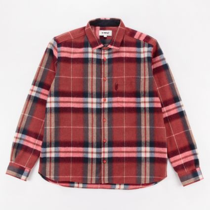 YMC Wool Check Curtis Shirt Red1