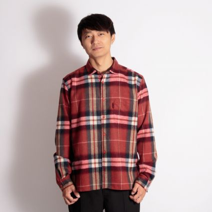 YMC Wool Check Curtis Shirt Red