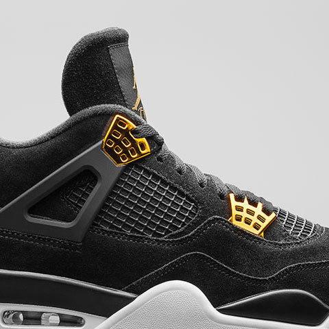 Nike Air Jordan 4 'Royalty' Black/Black-Metallic Gold-White 308497-032 - Releasing 08:00 (GMT) 04/02/17