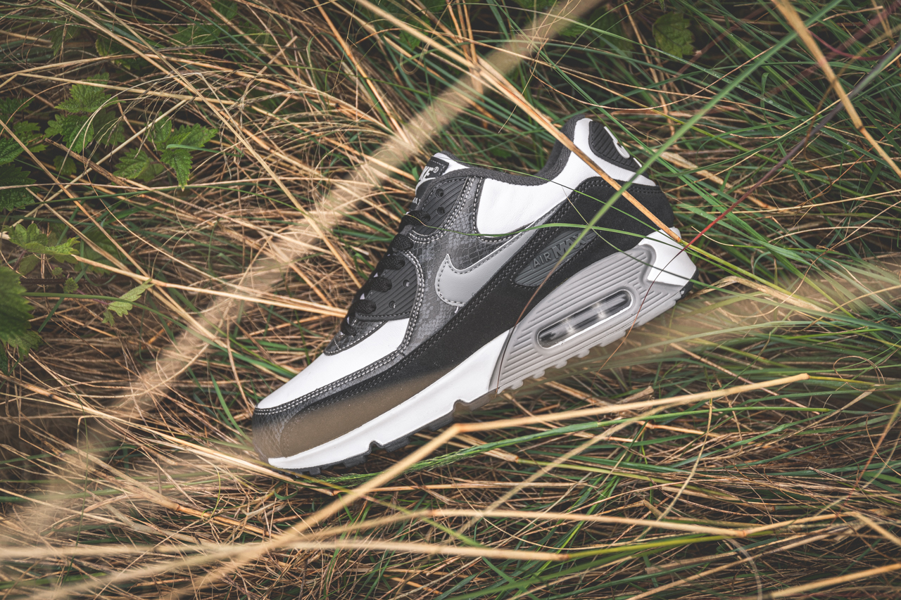 nike air max 90 quick strike python grey, white, black trainers