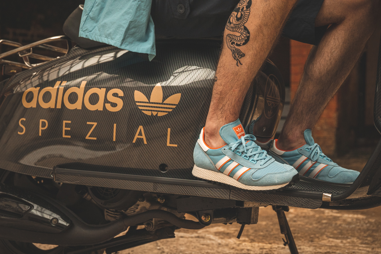 adidas spezial clear blue 80s running trainer with orange accent