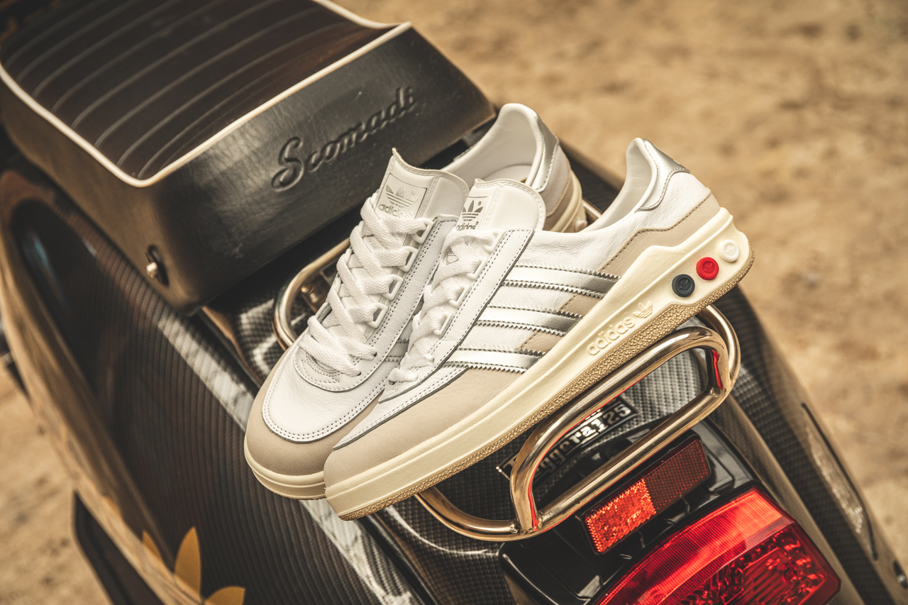 adidas spezial galaxy white leather trainers with red, navy and silver accents