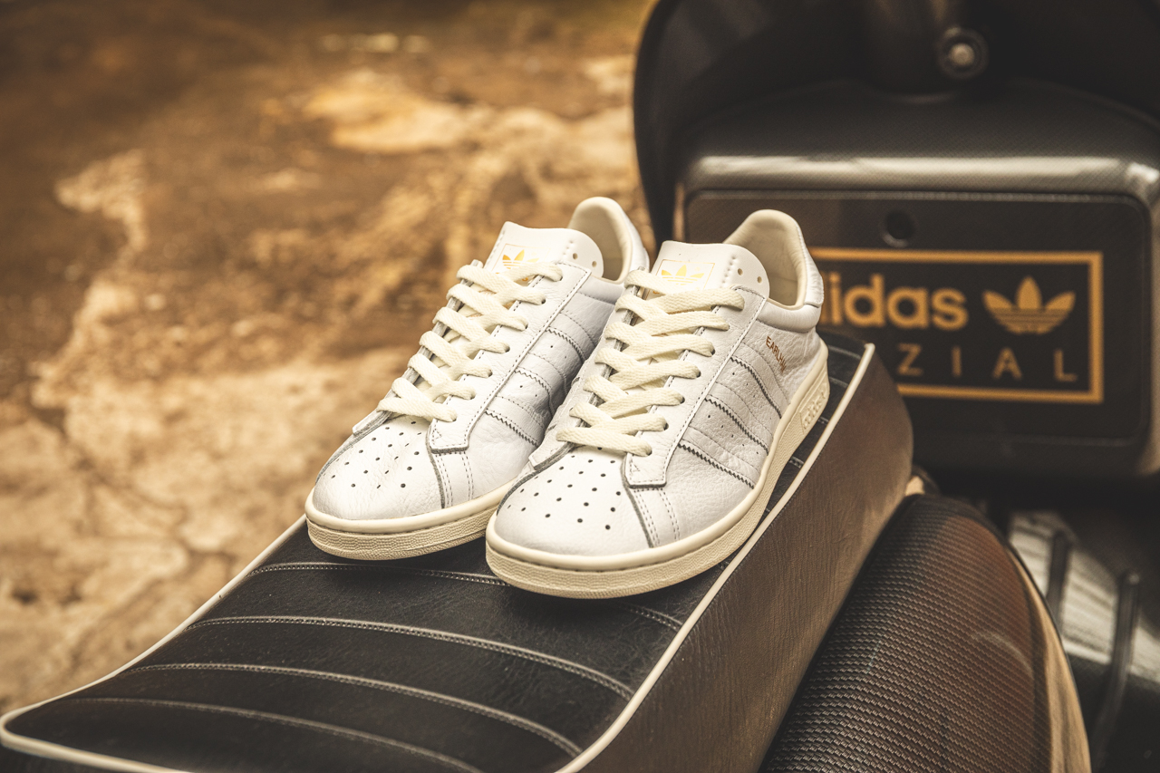 adidas spezial erlahm SPZL white leather trainers with perforated toe box