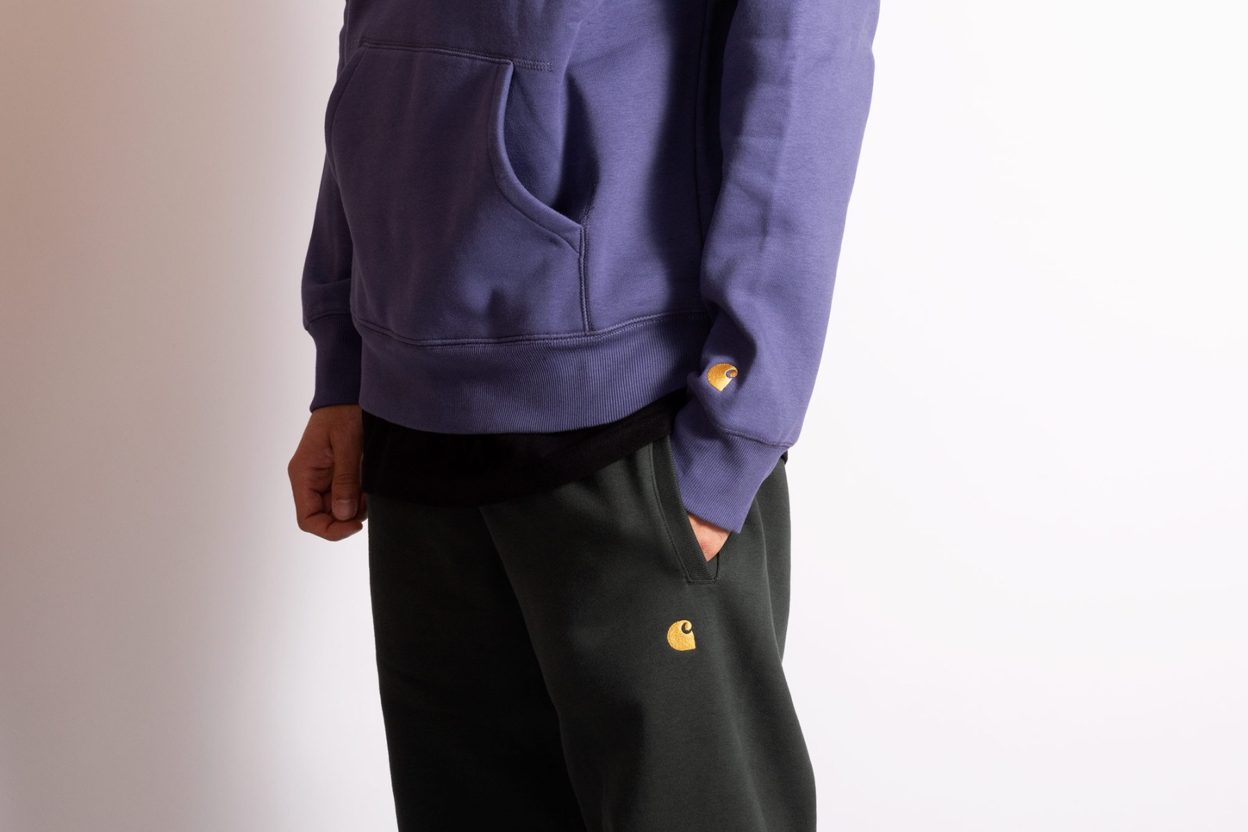 carhartt wip chase tracksuit in cold viola and dark teal