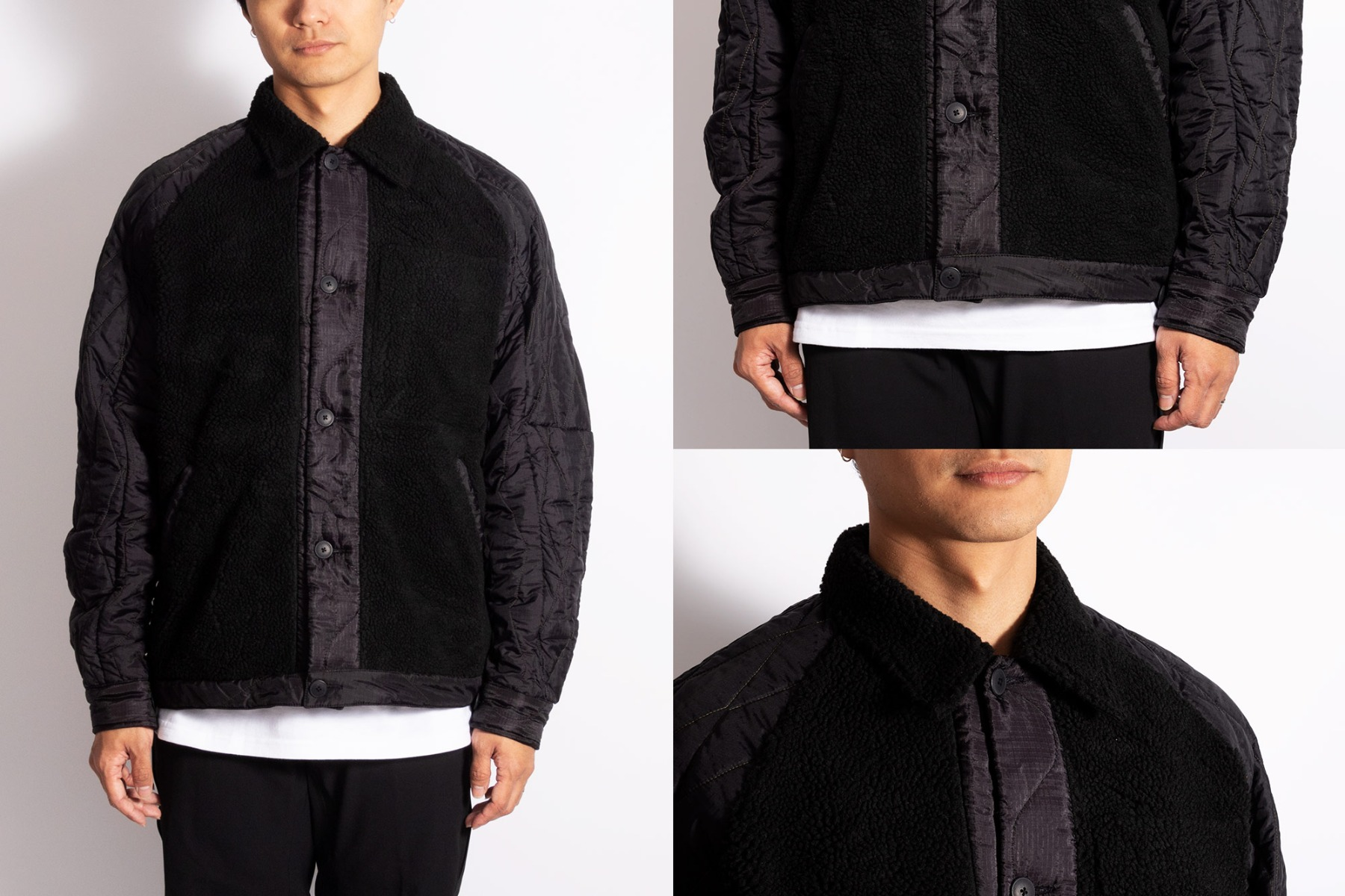 maharishi upcycled / recycled grizzly jacket in black