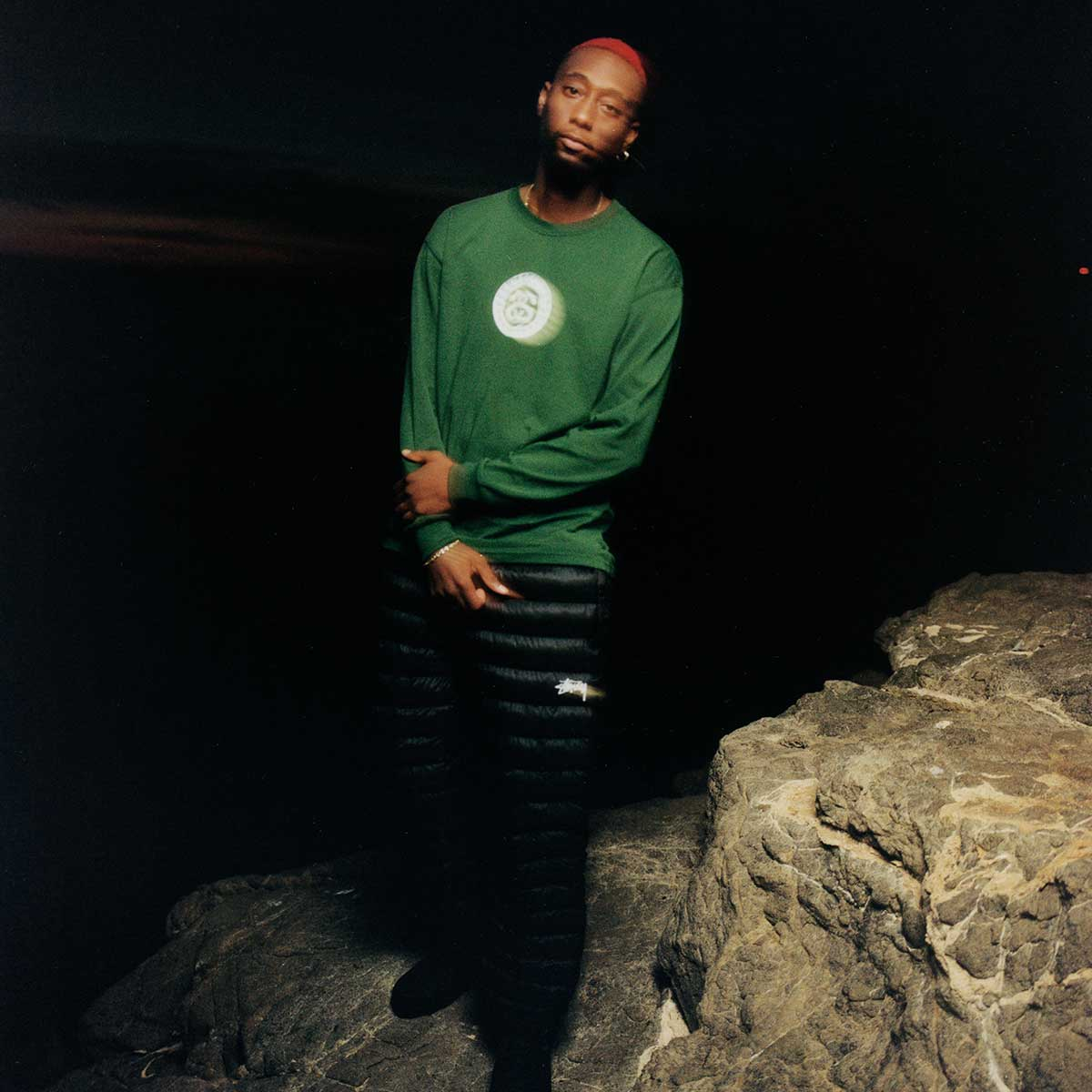 nike x stussy holiday 20 long sleeve t-shirt in green